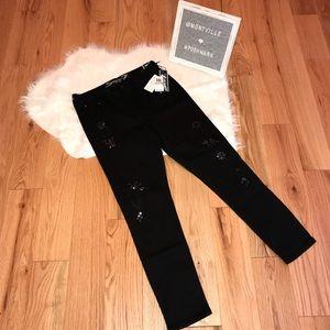 NWT Seven7 Size 12 Black Embellished Skinny Jeans